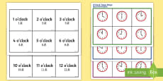 O' Clock Time Bingo English/Mandarin Chinese