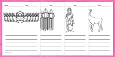 Diwali Picture Writing Templates