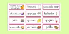 Tarjetas de vocabulario de comida