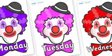 Days of the Week on Clown Faces