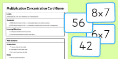 Multiplication Concentration Card Game USA