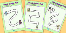 Monster Themed Pencil Control Path Activity Sheets