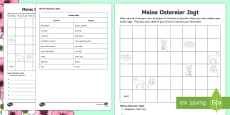 Easter Egg Hunt: Write Your Own Directions Activity Sheet German