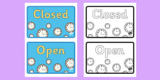 Clock Shop Role Playing Open and Closed Business Sign