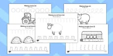 On the Farm Pencil Control Worksheets Arabic Translation