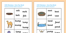 CVCC Phase Four Circle That Word Activity Sheet