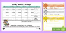 Reading Challenge Weekly Calendar