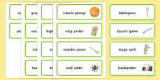 Word Medial SP Word Cards Three Syllable