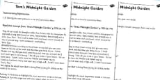 Toms Midnight Garden Summarising Practice Worksheets