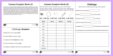 Year 2 Spelling Practice Common Exception Words (2) Go Respond Activity Sheet