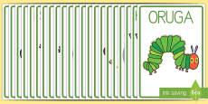 Póster DIN A4 para ayudar la enseñanza de: La oruga glotona