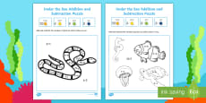 Under the Sea Themed Addition and Subtraction Puzzle 0-10