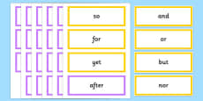 Subordinating and Coordinating Conjunctions Word Cards