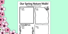 Our Spring Nature Walk Writing Frame Romanian Translation