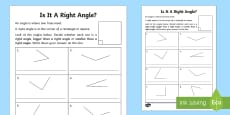 Right Angles Activity Sheet