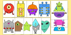 2D Shape Aliens Display Cut Outs