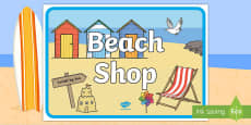 * NEW * Beach Shop A4 Display Poster