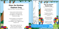 Elmer the Rainbow Elephant Song to Support Teaching on Elmer
