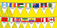 Rio Olympics 2016 Country Flags Bunting Arabic Translation