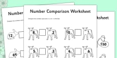 Spring Number Comparison Activity Sheet Differentiated