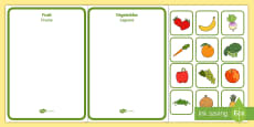 Fruit and Vegetables Sorting Activity Romanian/English