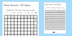 Roman Numerals Fill in the Number Square Activity Sheet