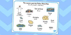 The Loaves and Fishes Word Mat Images Arabic Translation