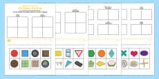 2D Shape Sorting Activity Sheet Arabic/English