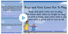 Boys and Girls Come Out to Play Song PowerPoint
