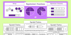 Grade 3 Equivalent Fractions PowerPoint with Activity Sheets USA
