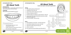 All About Teeth Crossword Activity Sheet