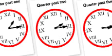 Roman Numerals Clocks Quarter Past