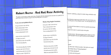 Robert Burns Red Red Rose Activity Ideas