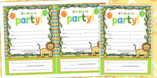 Jungle Themed Birthday Party Invitations