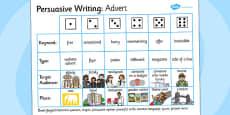 Persuasive Writing Advert Dice Activity