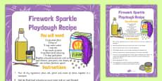 Firework Sparkle Playdough Recipe