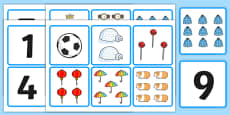1-10 Number and Quantity Matching Cards