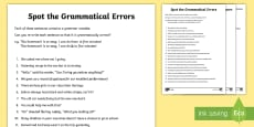 LKS2 Grammatical Consistency Sentence Correction Activity Sheet