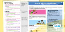PlanIt - Computing Year 4 - Scratch Questions and Quizzes Planning Overview