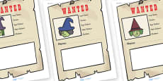 Witch Wanted Poster Writing Frames