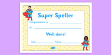 Super Spelling Award Certificate