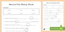 * NEW * Memorial Day Missing Words Activity Sheet