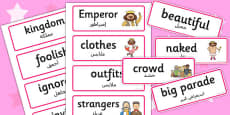 The Emperors New Clothes Word Cards Arabic Translation