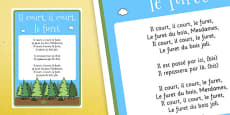 Il Court, Il Court, Le Furet Nursery Rhyme Lyric Sheet Poster French