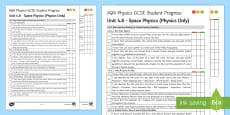 AQA Physics Unit 4.8 Space Physics Student Progress Sheet