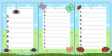 Minibeast Acrostic Poem Templates Pack