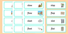 'sl' and 'fl' Cluster Contrast Word Cards