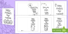 Mother's Day Card Templates Colouring Romanian Translation