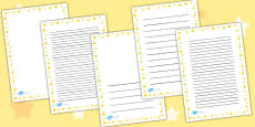 Yellow Star Portrait Page Borders