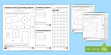 Calculate Area by Counting Squares Activity Sheet Pack